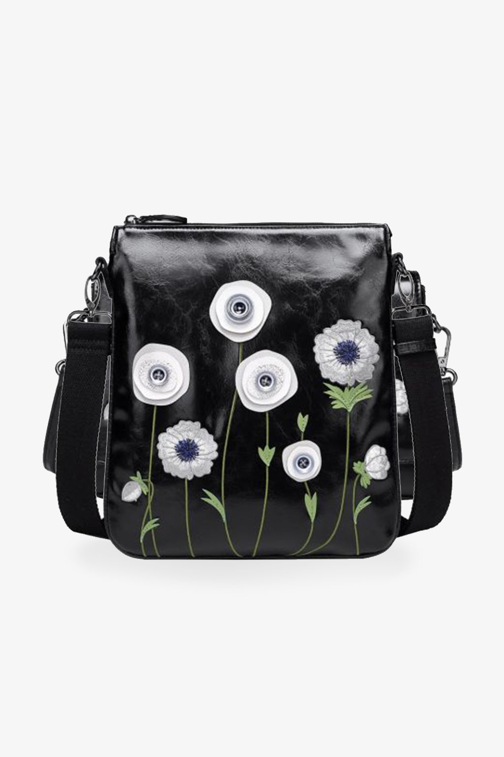 Vendula-White Poppy Double Compartment Crossbody Bag-Mott and Mulberry