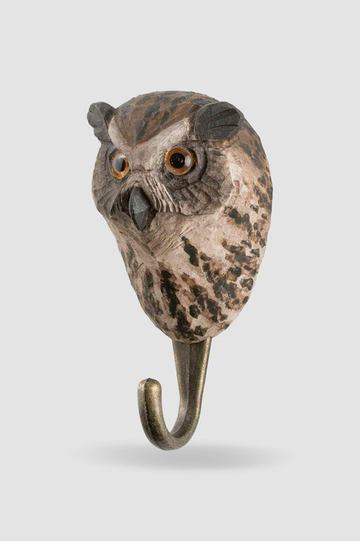 Hall and Wares-Hand Carved Owl Hook-Mott and Mulberry