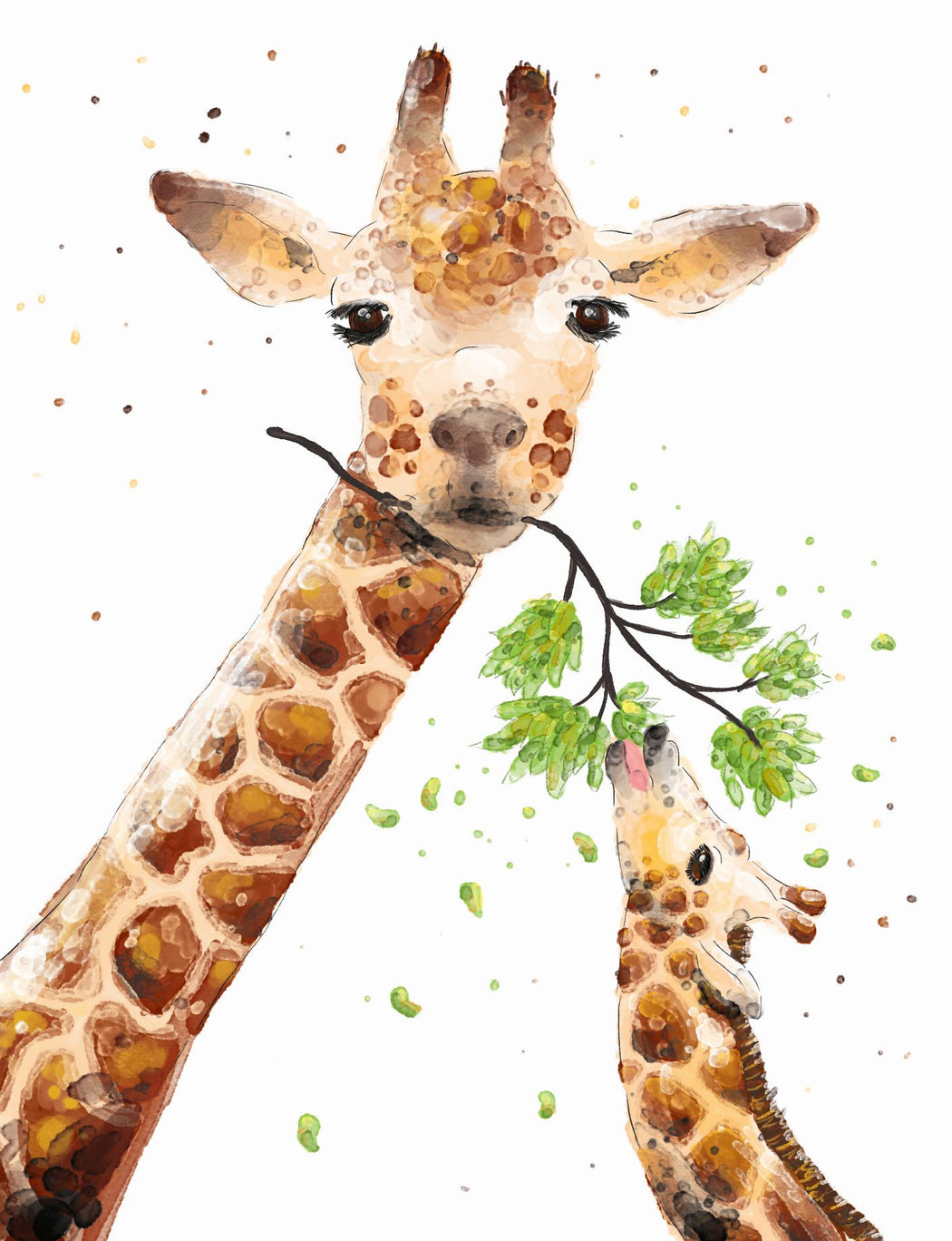Squirrel Design Studio-Giraffe With Baby - Greeting Card-Mott and Mulberry
