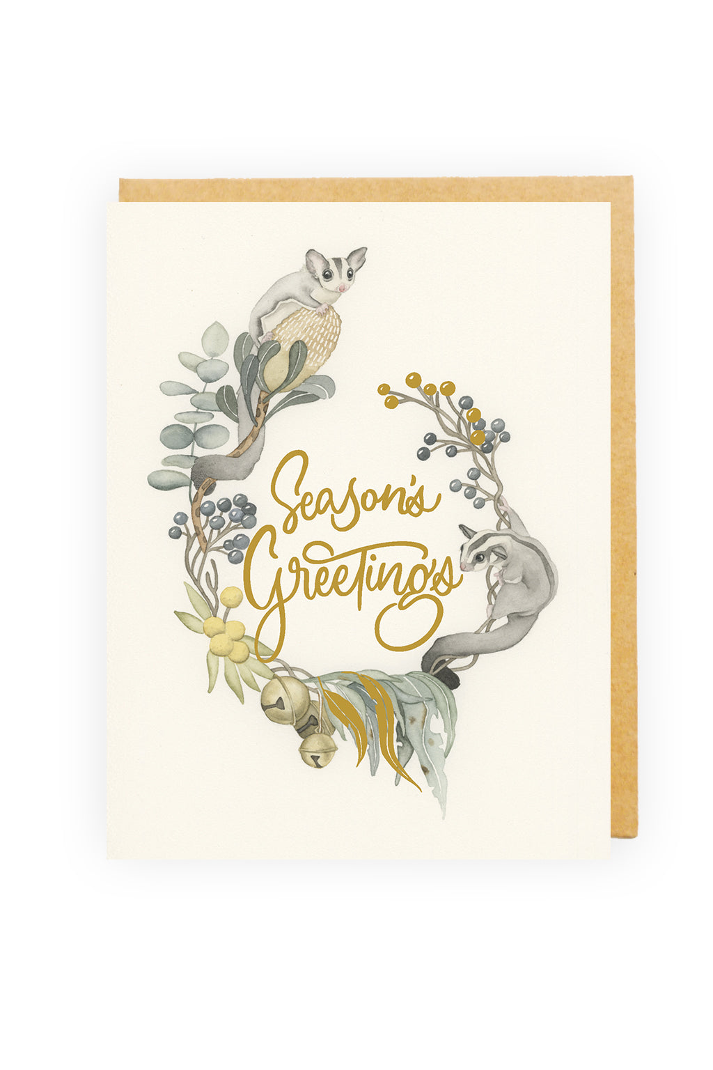 Squirrel Design Studio-Sweet Wreath - GOLD FOIL Christmas Card-Mott and Mulberry