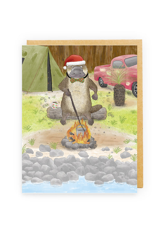 Squirrel Design Studio-Platypus Camping  Christmas Card-Mott and Mulberry