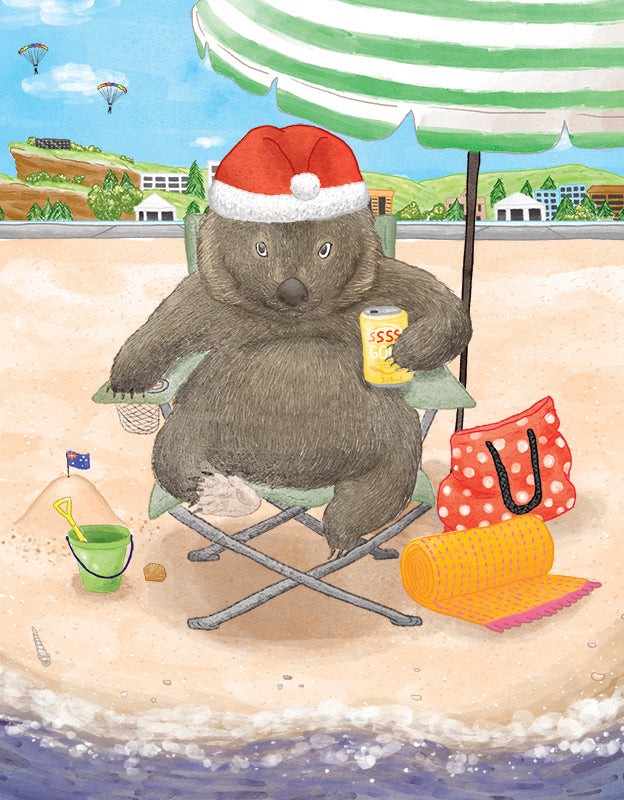 Squirrel Design Studio-Wombat In Chair  Christmas Card-Mott and Mulberry