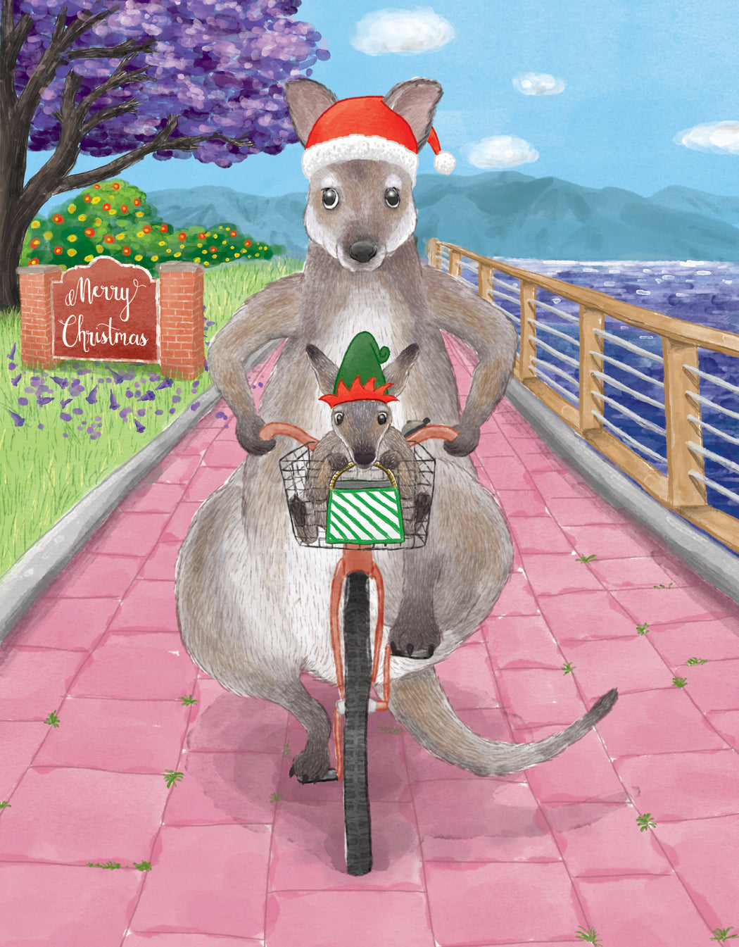 Squirrel Design Studio-Cycling Wallabies - Christmas Card-Mott and Mulberry