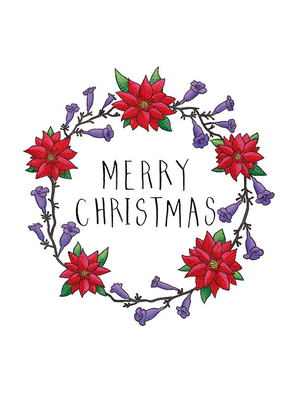 Squirrel Design Studio-Jacaranda Wreath  Christmas Card-Mott and Mulberry