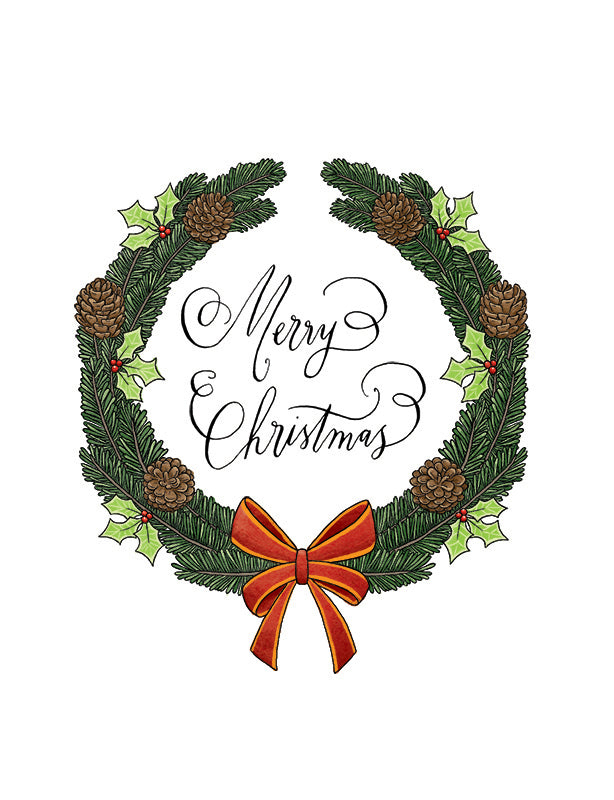 Squirrel Design Studio-Christmas Wreath Christmas Card-Mott and Mulberry