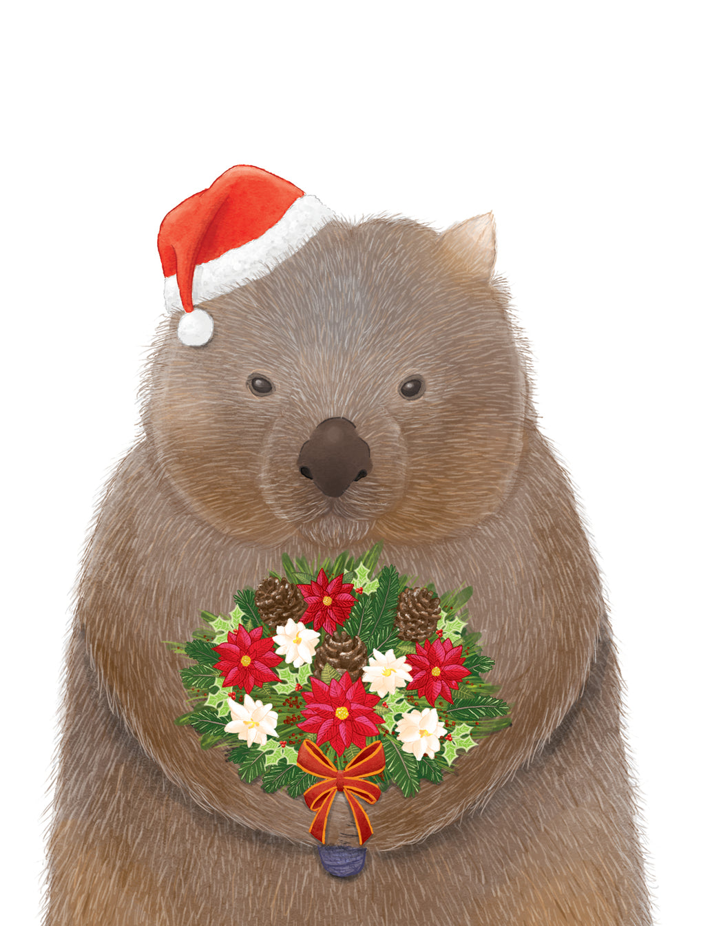 Squirrel Design Studio-Wombat Bouquet - Christmas Card-Mott and Mulberry