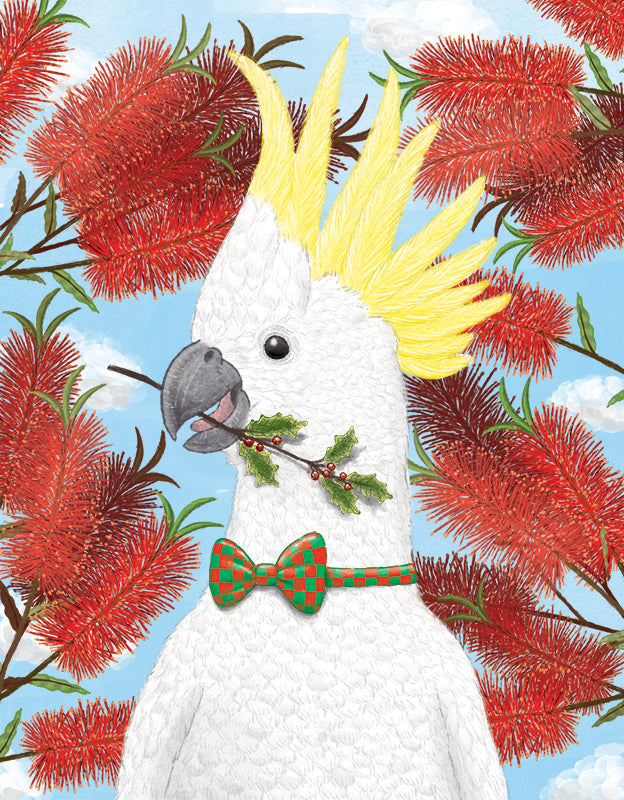 Squirrel Design Studio-Cockatoo With Holly Christmas Card-Mott and Mulberry