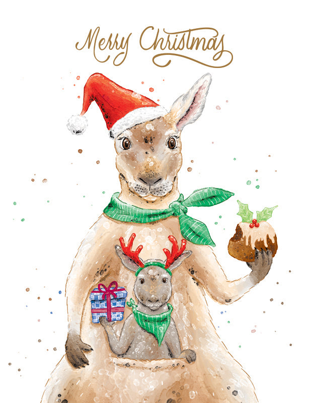 Squirrel Design Studio-Christmas Joey & Kangaroo - GOLD FOIL Christmas Card-Mott and Mulberry
