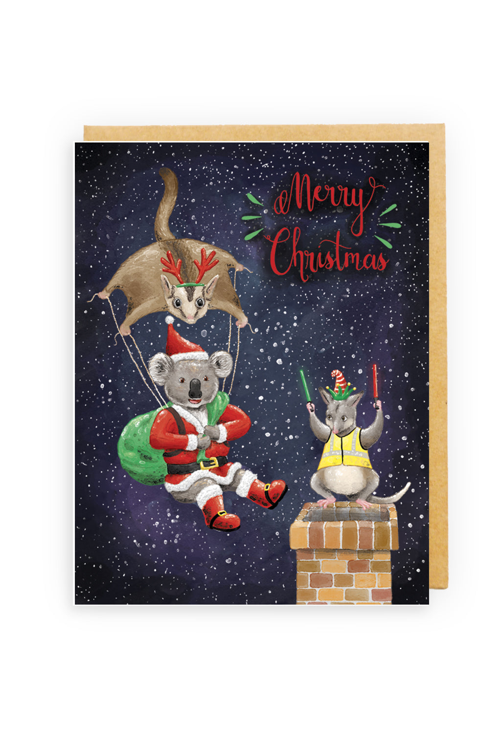 Squirrel Design Studio-Sugar Glider Parachute Christmas Card-Mott and Mulberry