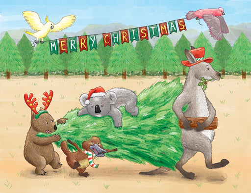 Squirrel Design Studio-Aussie Animals Carrying Christmas Tree Christmas Card-Mott and Mulberry