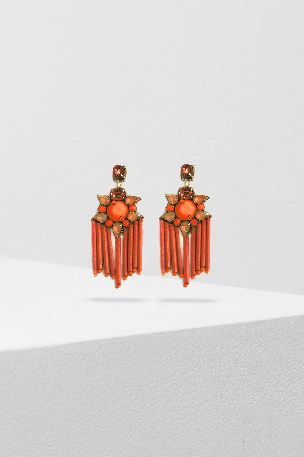 ZODA-Tangerine Beaded Earrings-Mott and Mulberry