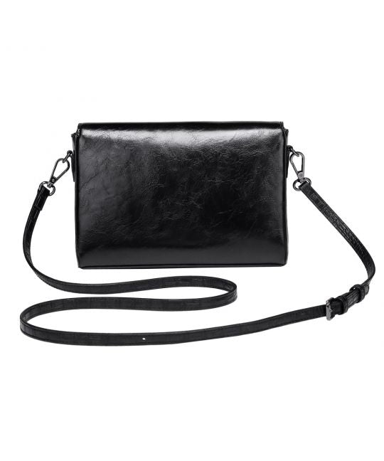 Vendula-White Poppy Flap Front Crossbody Clutch-Mott and Mulberry