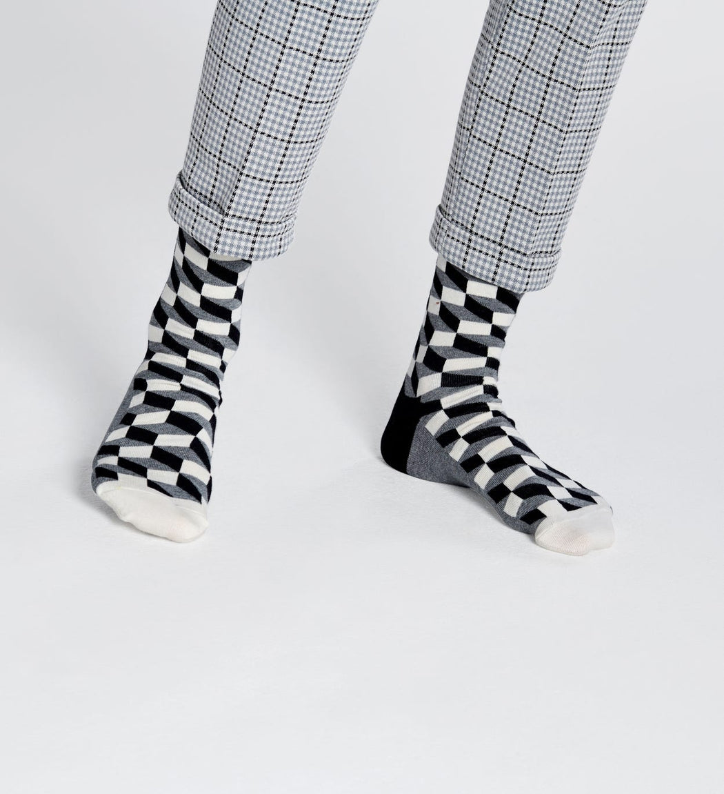 Happy Socks-Filled Optic Socks Black and White-Mott and Mulberry