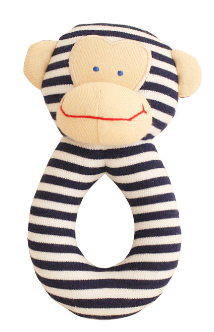 Alimrose-Monkey Grab Rattle 16cm Navy-mott-and-mulberry-shop-online-brisbane