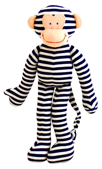 Alimrose-Monkey Rattle Navy Stripe 30cm-mott-and-mulberry-shop-online-brisbane