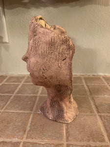 RAKU Clay Sculpture - eyeless face AGE
