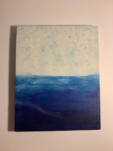 Acrylic on canvas painting, blue drift. AGE