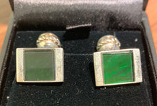 Load image into Gallery viewer, Ammolite Cufflinks set in silver - deep green hue