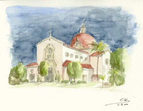 CB Watercolor Original - Coral Gables Church of the Little Flower