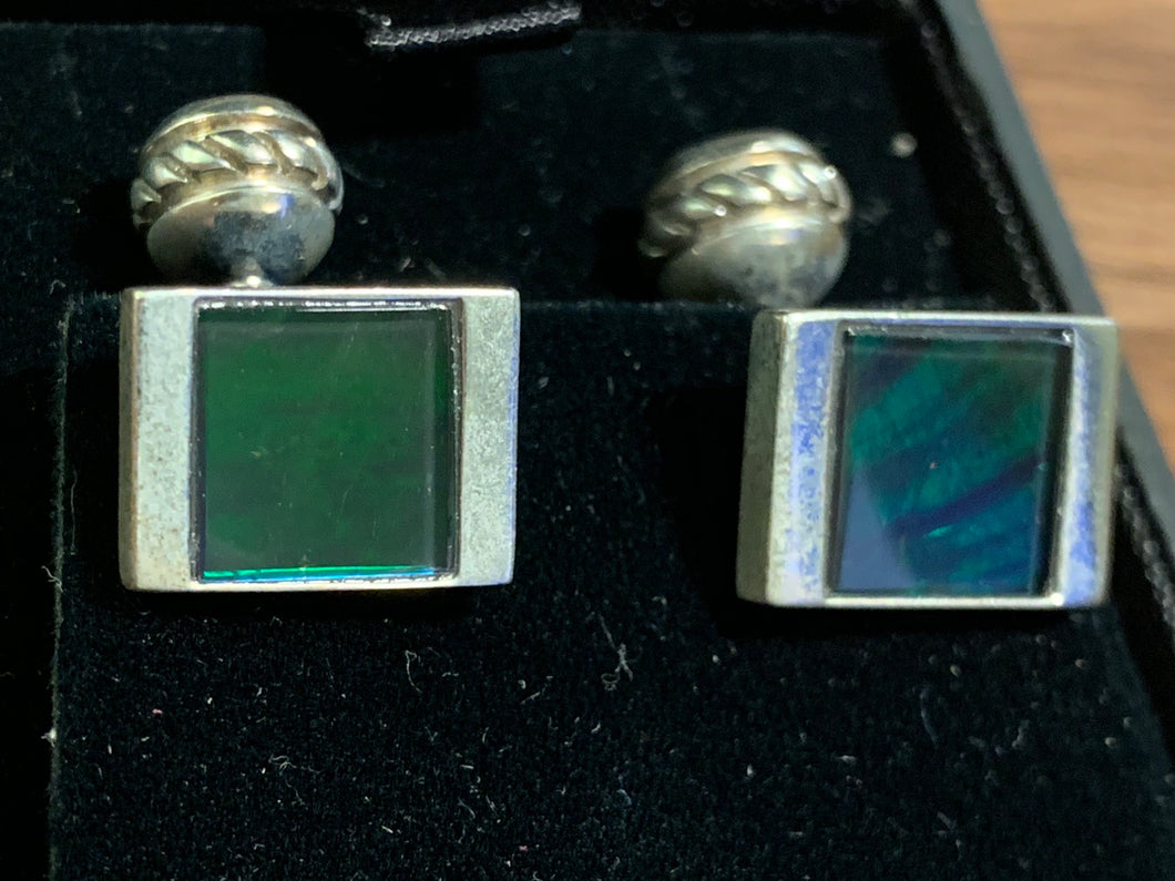 Ammolite Cufflinks set in silver - deep green hue