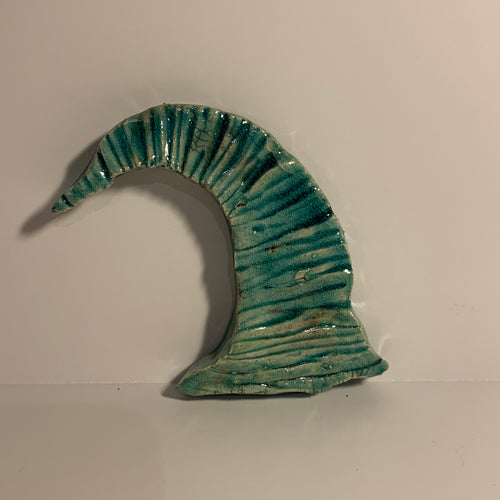 Fired clay sculpture, wave tile turquoise. AGE