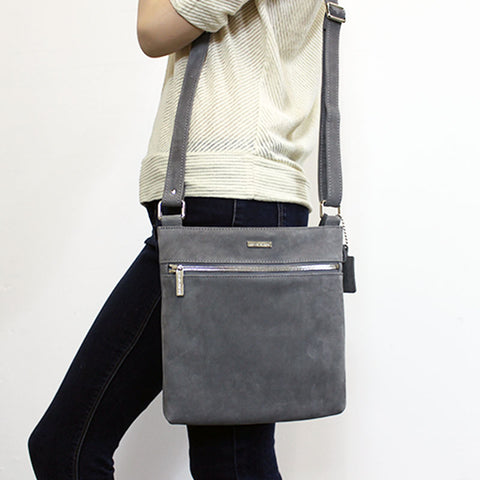 Messenger Crossbody (Grey Suede)