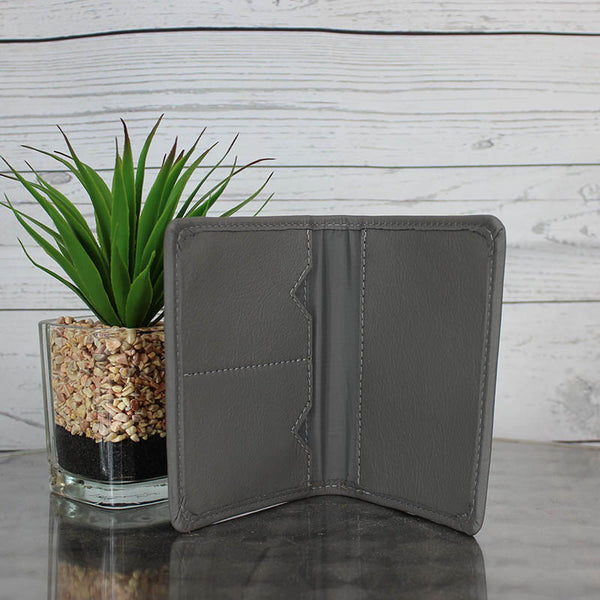 Leather Passport Cover / Wallet (Dove Grey)