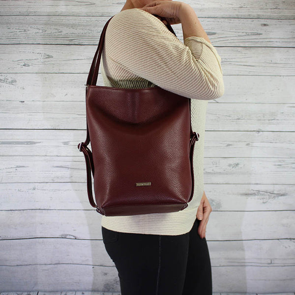 Convertible Hobo Backpack (Oxblood Red)