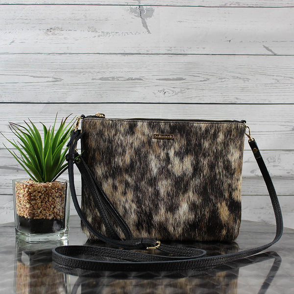 Becca Crossbody/Clutch Large (Salt & Pepper Hair-on Hide)