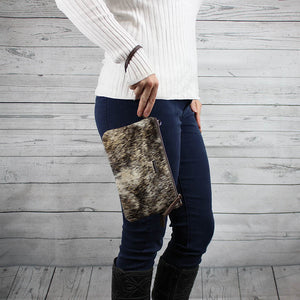 Kelsey Wristlet w/ Crossbody Strap (Salt & Pepper Hair-On Hide)
