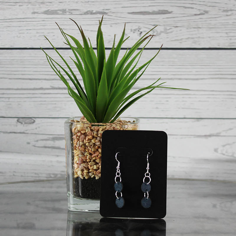 Earrings - Blue Double Circle