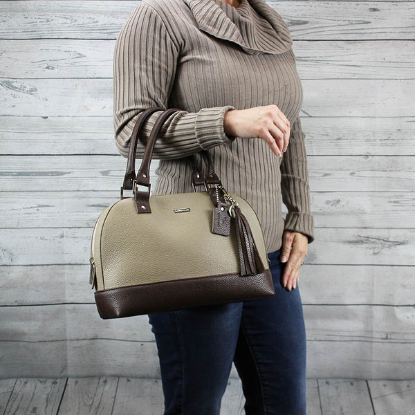 Dakota Satchel - Small (Taupe & Mahogany)