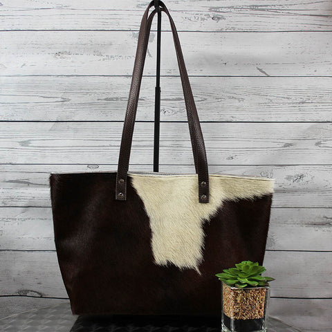 Hair On Leather Tote (Brown & White)