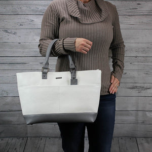 Madison Tote - Large (Bone & Dove Grey)