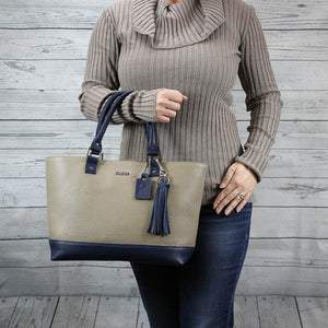 Madison Tote - Medium (Taupe & Navy)