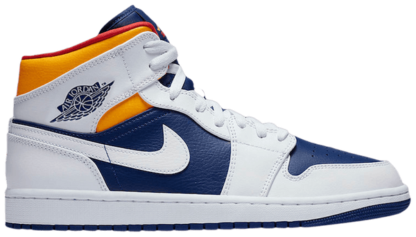 "Air Jordan 1 Mid ""White Laser Orange Deep Royal Blue"" (GS)"
