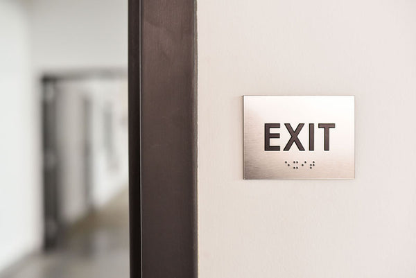 ADA Compliant EXIT Sign with Tactile Text and Grade 2 Braille