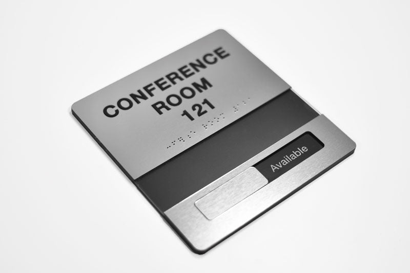 Sliding ADA Braille Conference Room Signs with Tactile
