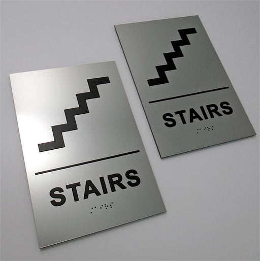 Braille Stairs Sign with Tactile Text and Graphic