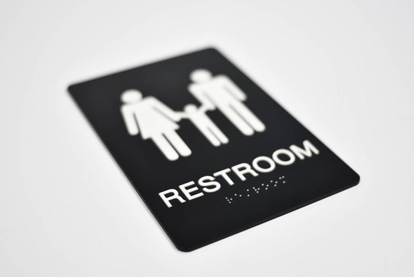 ADA Compliant Family Restroom Sign with Tactile (Raised) Text and Grade 2 Braille