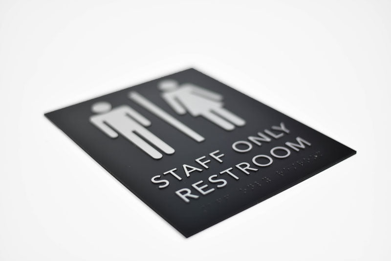ADA Braille Staff Only Restroom Sign with Grade 2 Braille and Tactile Text