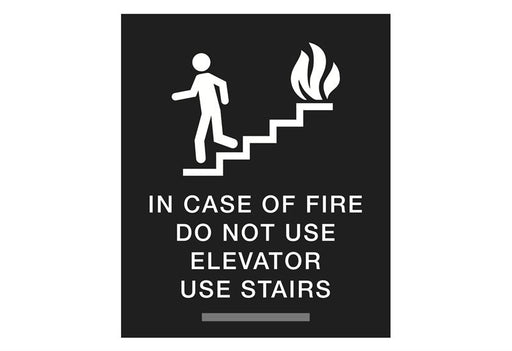 ADA Braille In Case of Fire Use Stairs Sign with Tactile Text
