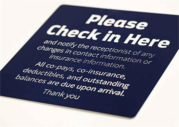 Check In Signs with Engraved Text