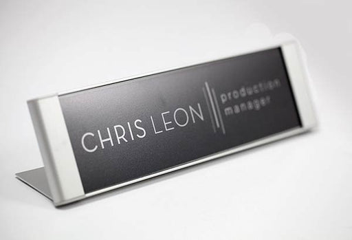 Satin Silver Interchangeable Desk Sign