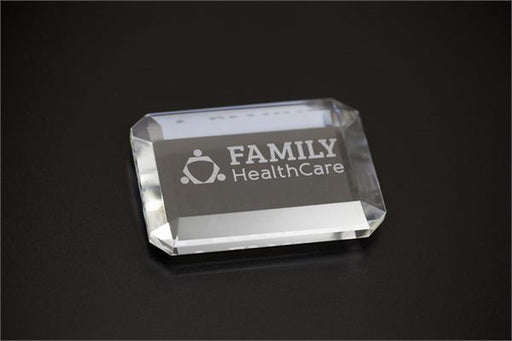 Desk Paperweight Etched Crystal