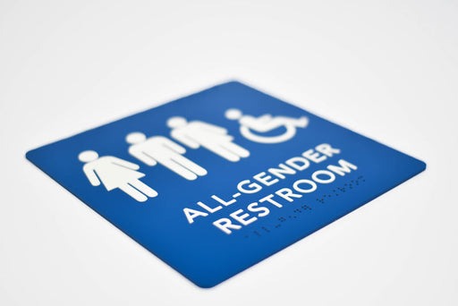ADA Compliant Gender Neutral Bathroom Signs with Grade 2 Braille and Tactile Text
