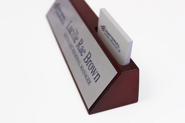 Rosewood Desk Sign with Business Card Holder