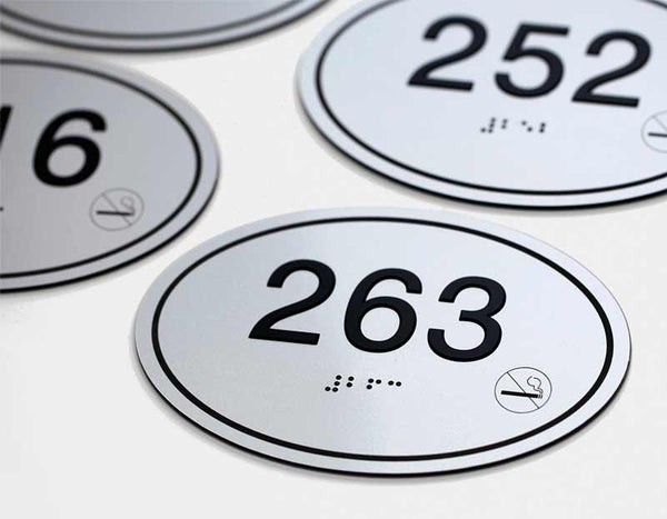 Oval Apartment & Hotel Room Number Signs