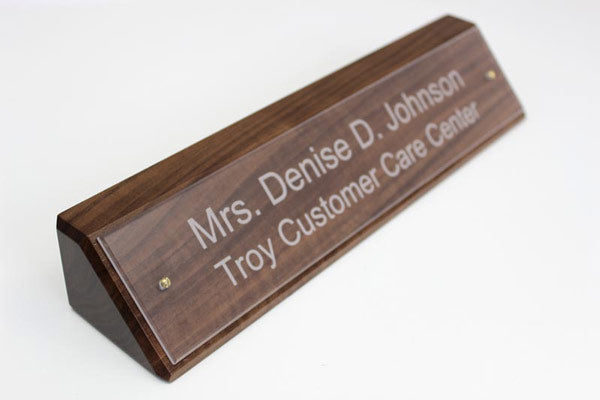 Solid Walnut Desk Sign with Clear Nameplate