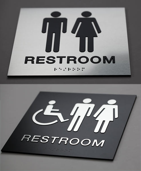 Braille Restroom Signs ADA Grade 2 Braille